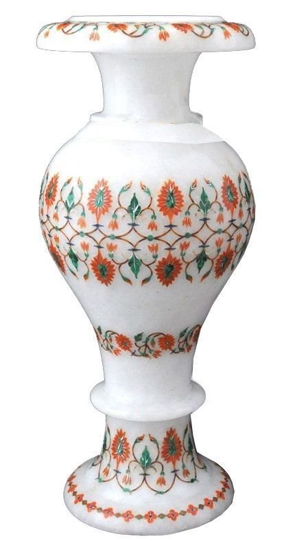 "12"" White Marble Flower Vase Malachite Inlay Floral"