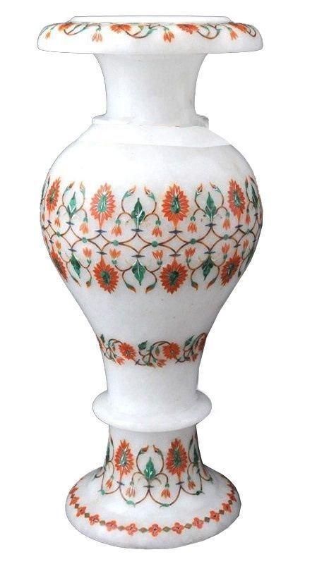 "12"" White Marble Flower Vase Malachite Inlay Floral"