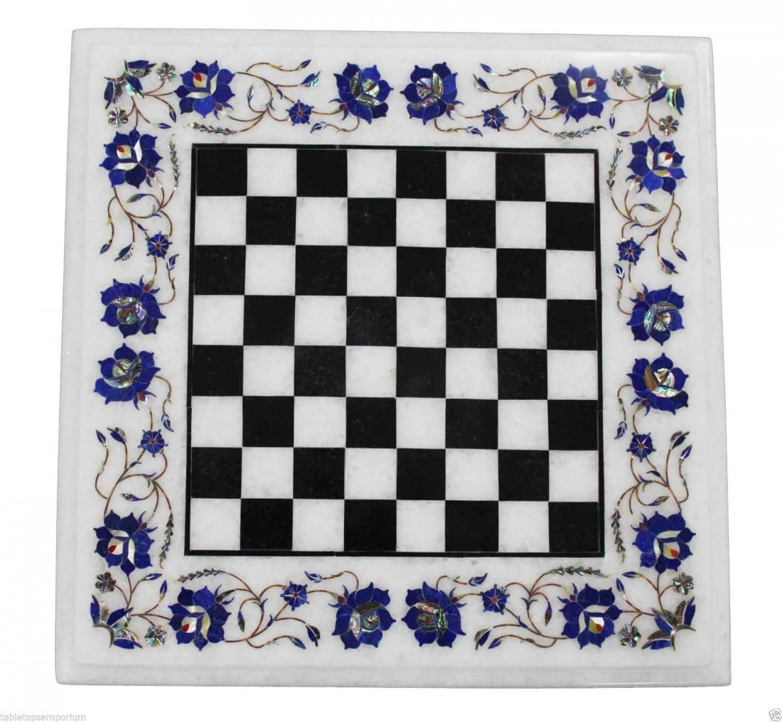 "Size 15""x15"" Marble Coffee Chess Table Top Lapis"
