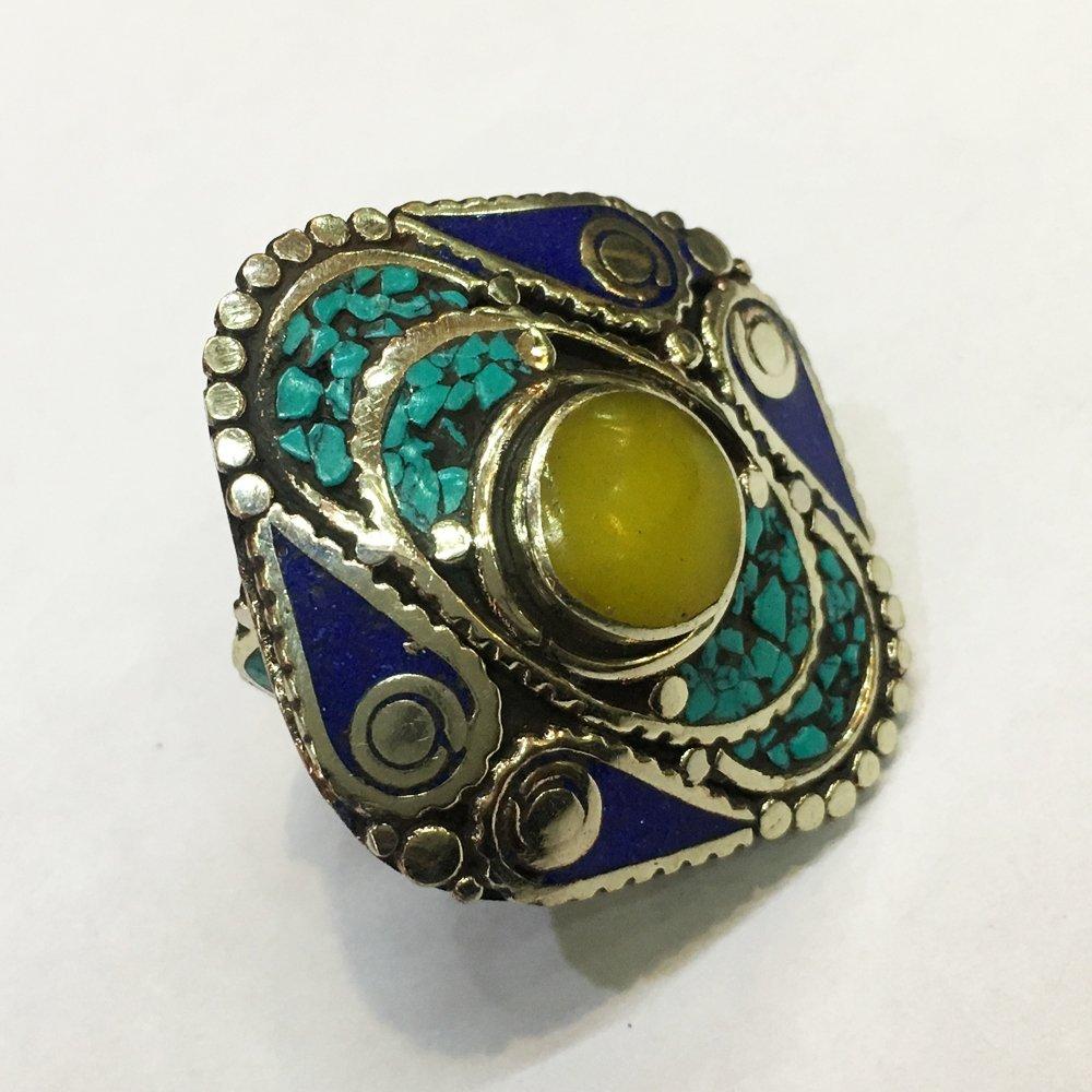 Turquoise & Amber Tribal Bohemian Handmade Ring