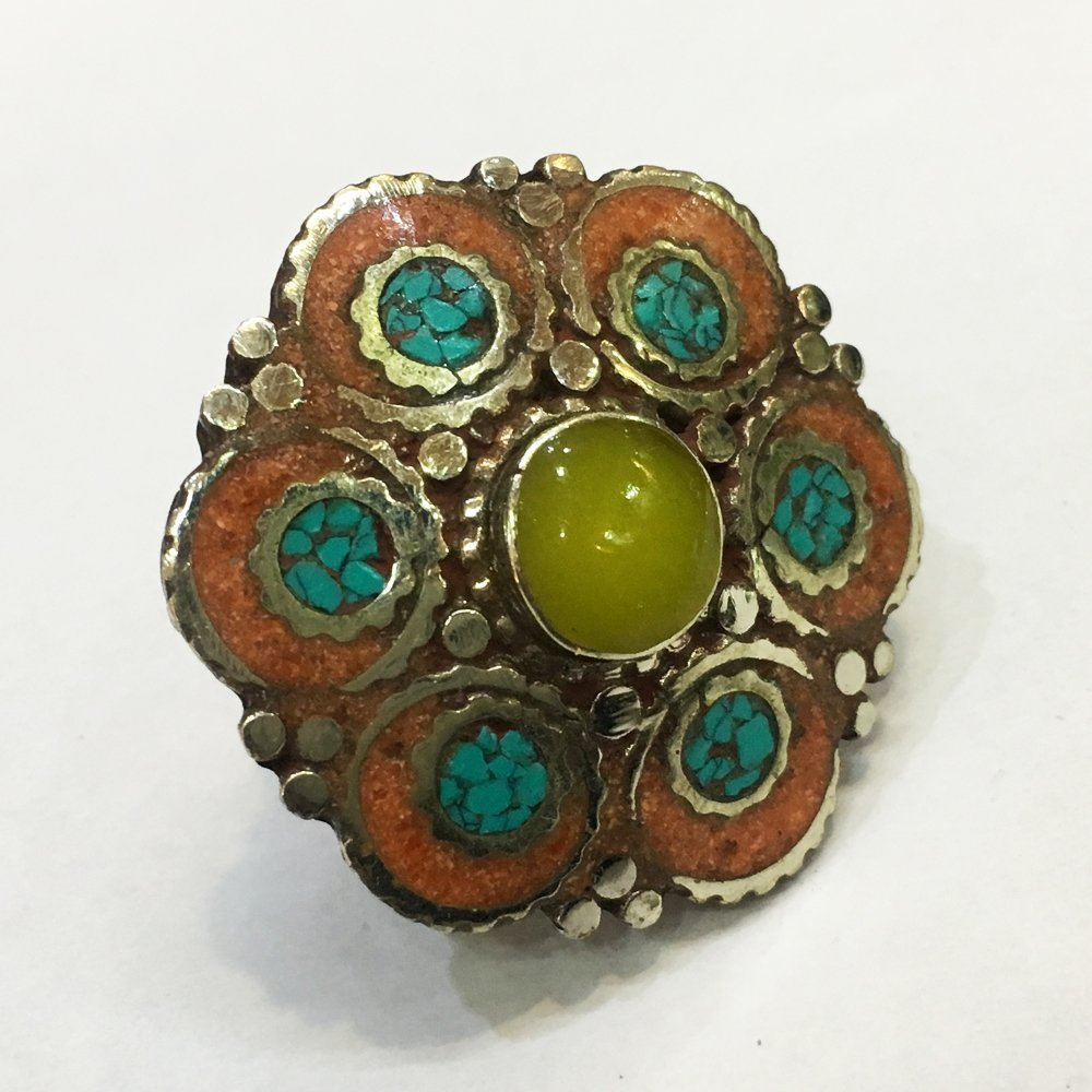 Free size Antique Tibetan Amber & Red Coral Ring