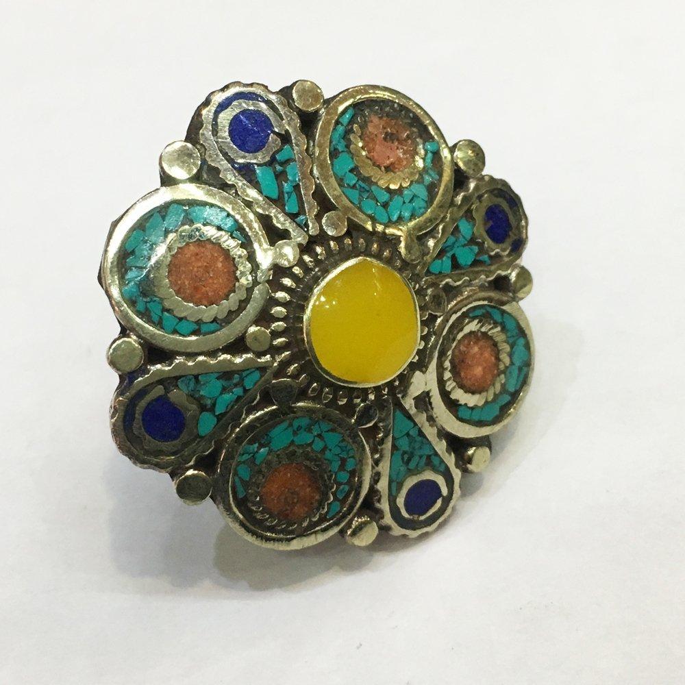 Free size Antique Tibetan Turquoise & Amber Ring
