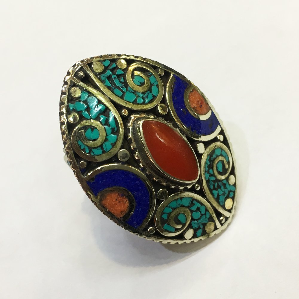 Free Size Tibetan Turquoise Coral Mexican Ring