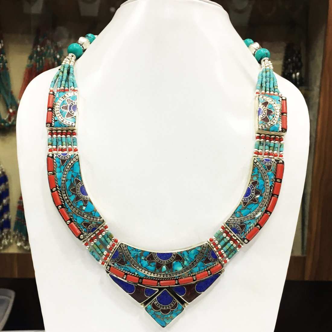 Tibetan Turquoise & Coral Statement Necklace