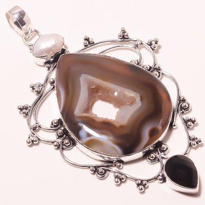 Titanium Druzy-Garnet Silver Overlay Handmade Pendant