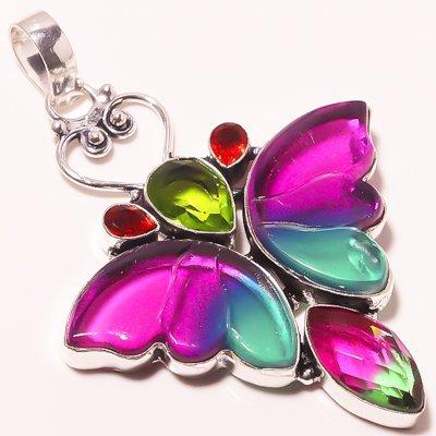 Multi stone Silver Overlay Handmade Butterfly Pendant