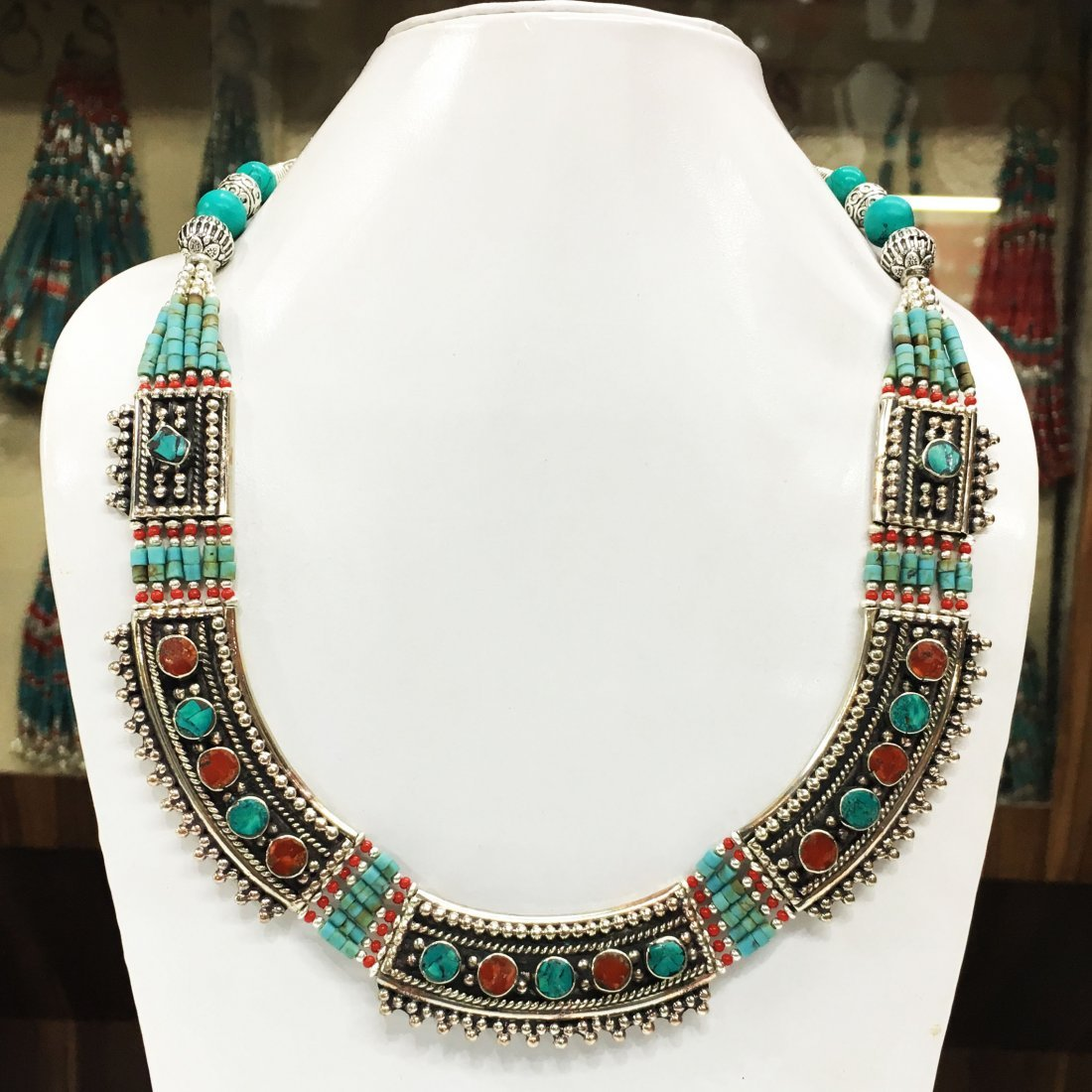 Tibetan Turquoise & Coral Mexican Necklace