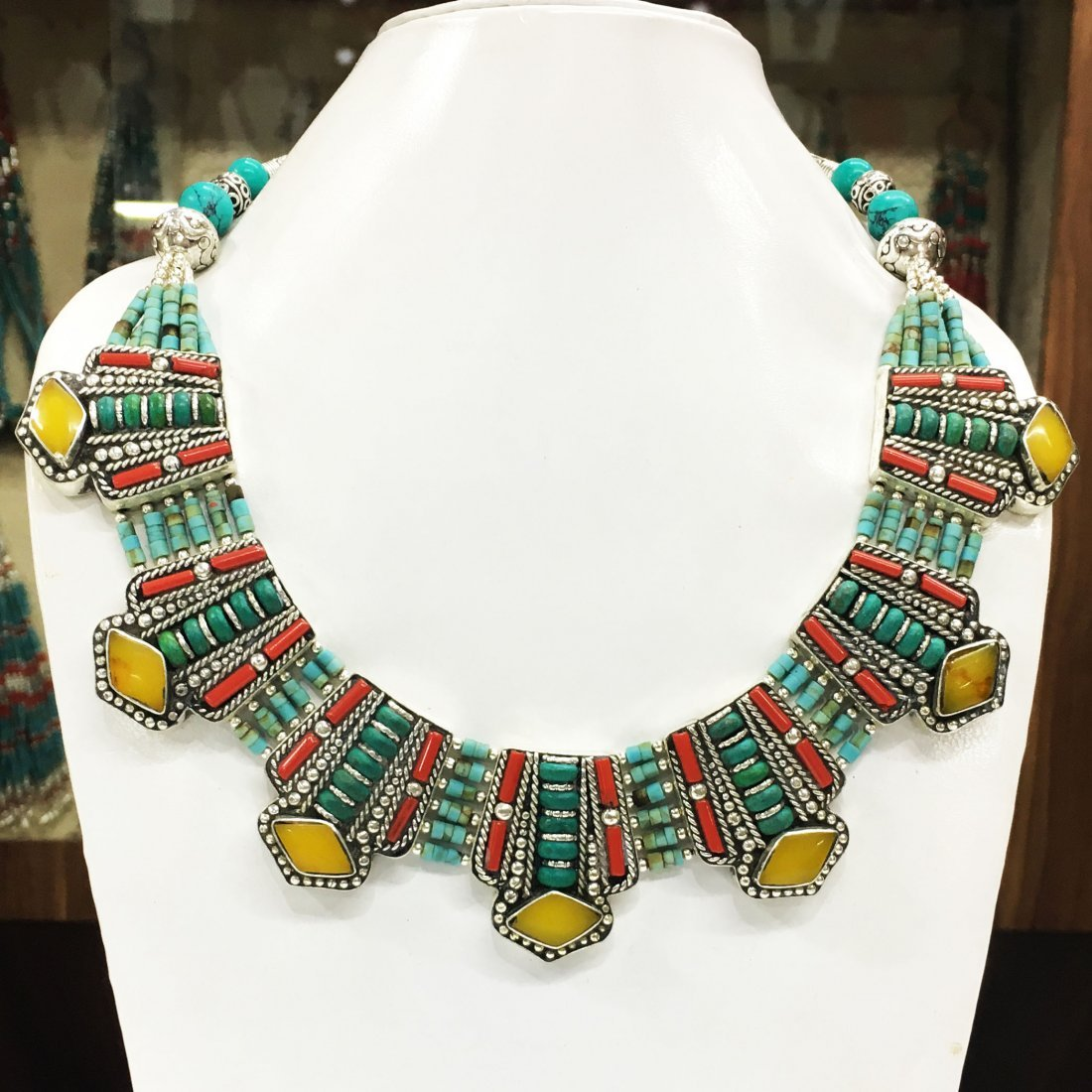 Turquoise, Coral & Amber Handmade Necklace