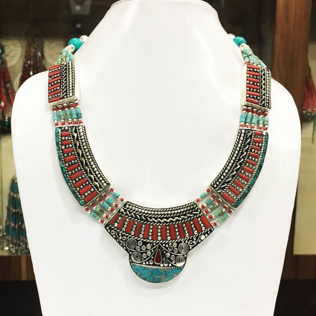 Antique Tibetan Silver Coral and Turquoise Necklace
