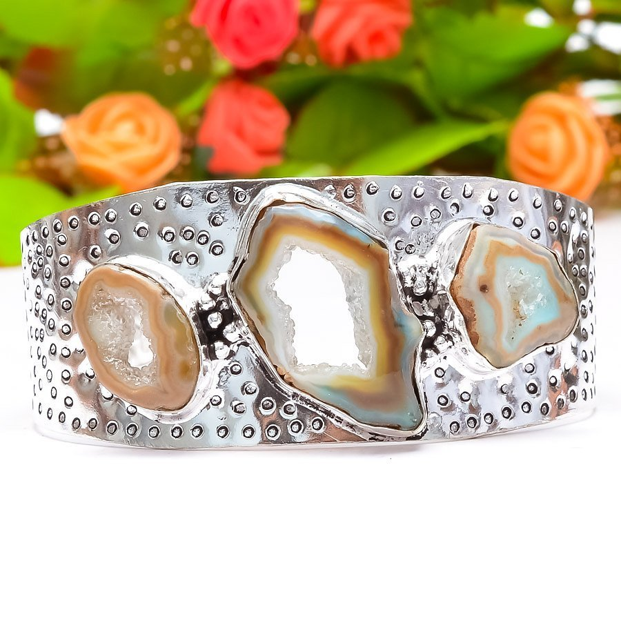 Slice Druzy Sterling Silver Plated Bangle