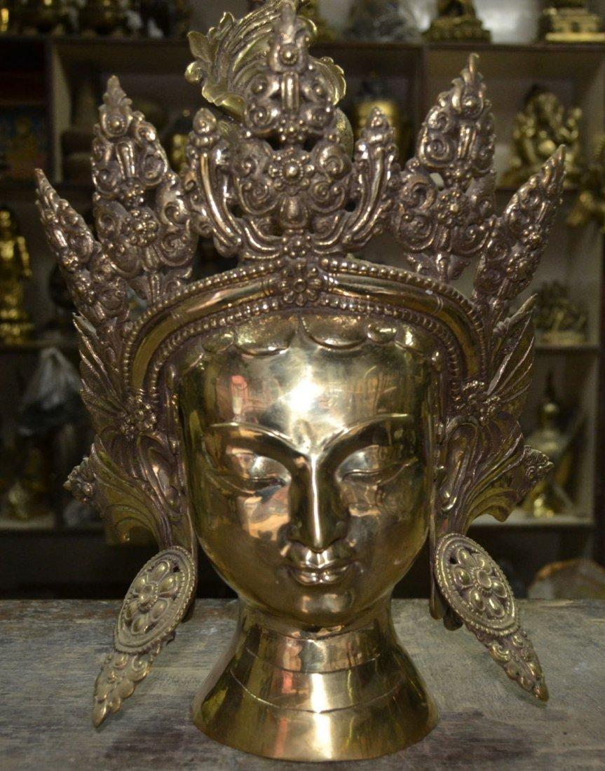 "Green Tara Head The Rescuer Sculpture Brass 14"""