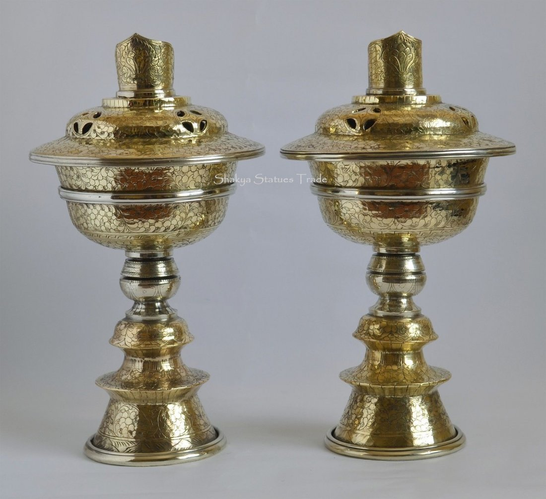 "12"" Tibetan Buddhism Brass Butter Lamps Set"