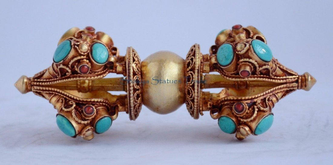 "Tibetan Buddhsit 5.5"" Vajra or Dorje Gold Plated Copper"