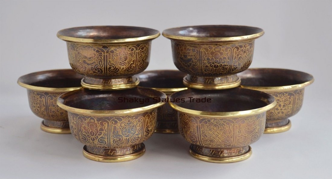 "Gold Gilded Finely Carved Tibetan 4"" Offering Bowls Set"