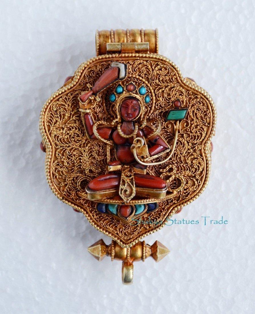 Turquoise Coral Stones Ghau Gau Prayer Box Pendant