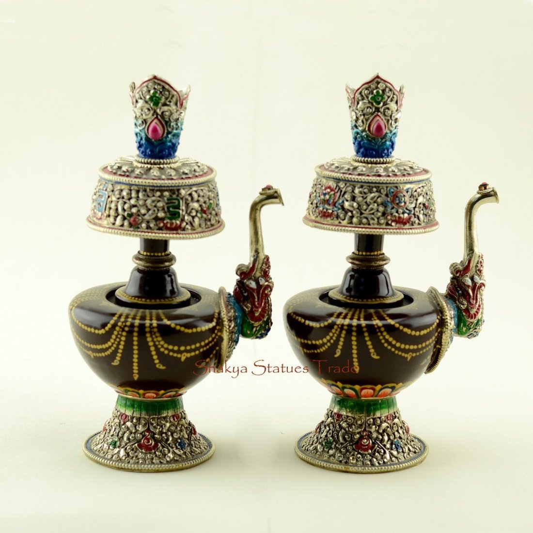 "9.5"" Tibetan Buddhism Colored Copper Alloy Bhumpa set"