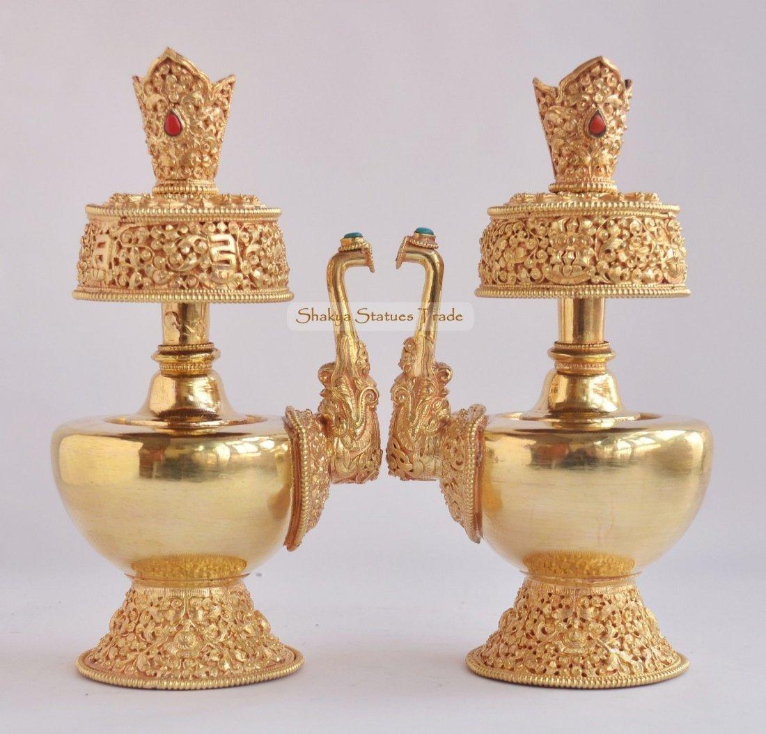 "9"" Tibetan Buddhism 24 K Gold Gilded Copper Bhumpa Set"
