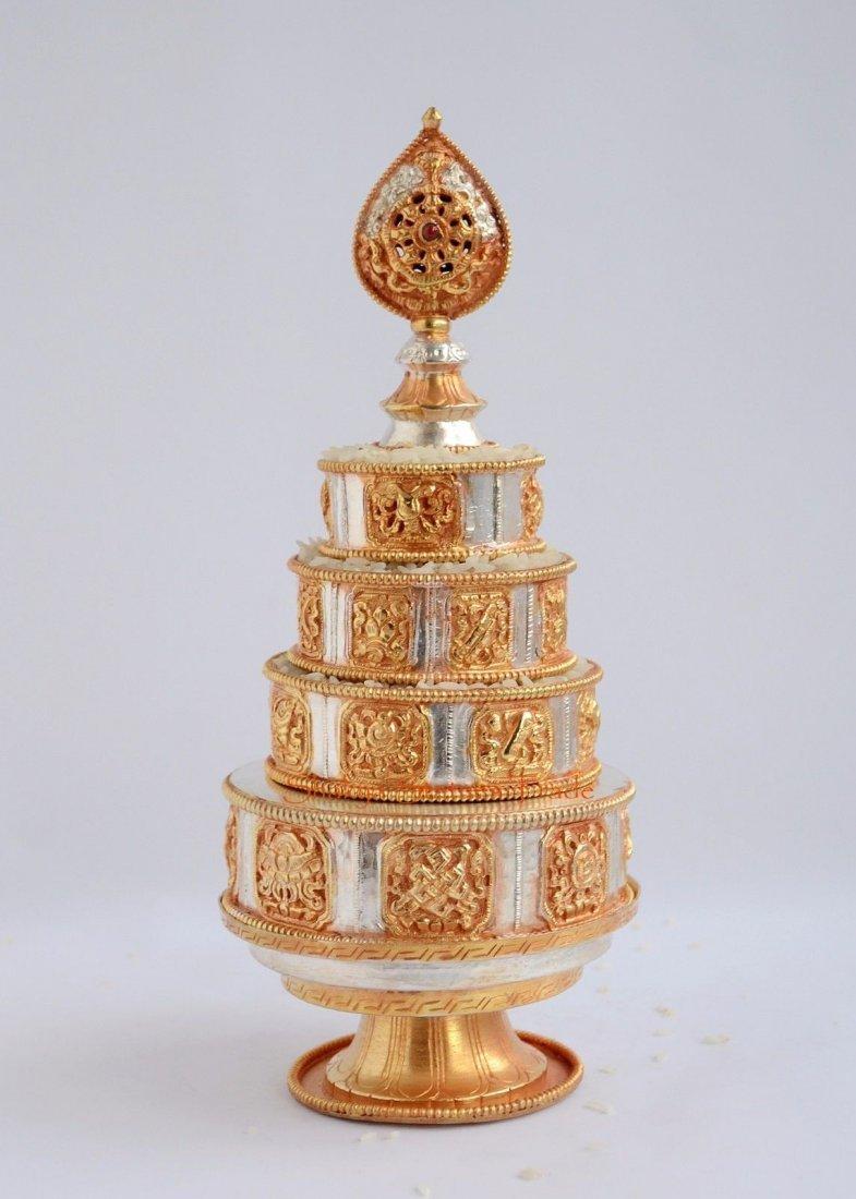 "Buddhist 4"" Gold Silver Plated Copper Mandala Set"