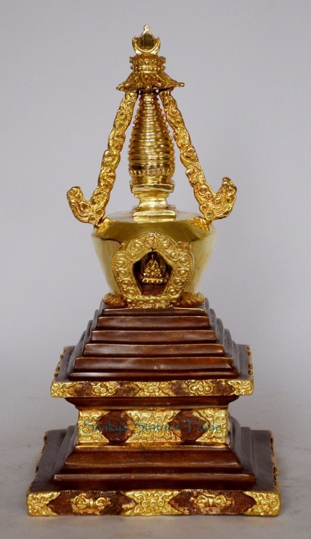 "9.5"" Stupa or Chaitya or Chhorten Partly Gold Gilded"