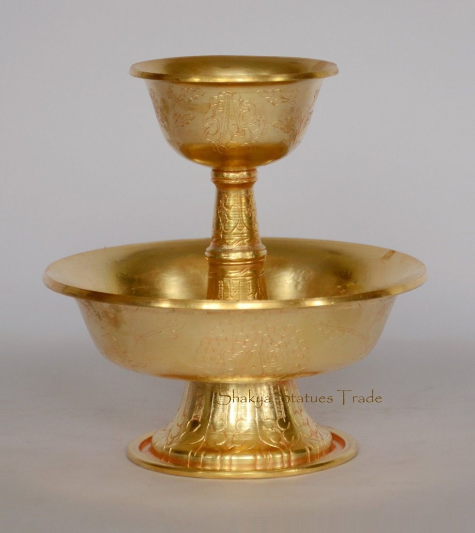 """5.25"""" Hand Crafted Copper Alloy Gold Plated Serkyem Set"""