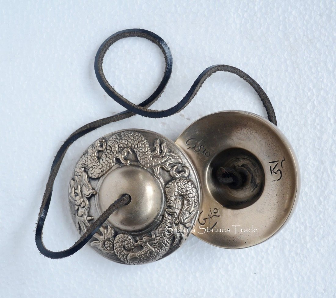 """Hand Carved 3"""" Fine Quality Buddhist Tingsha Cymbals"""