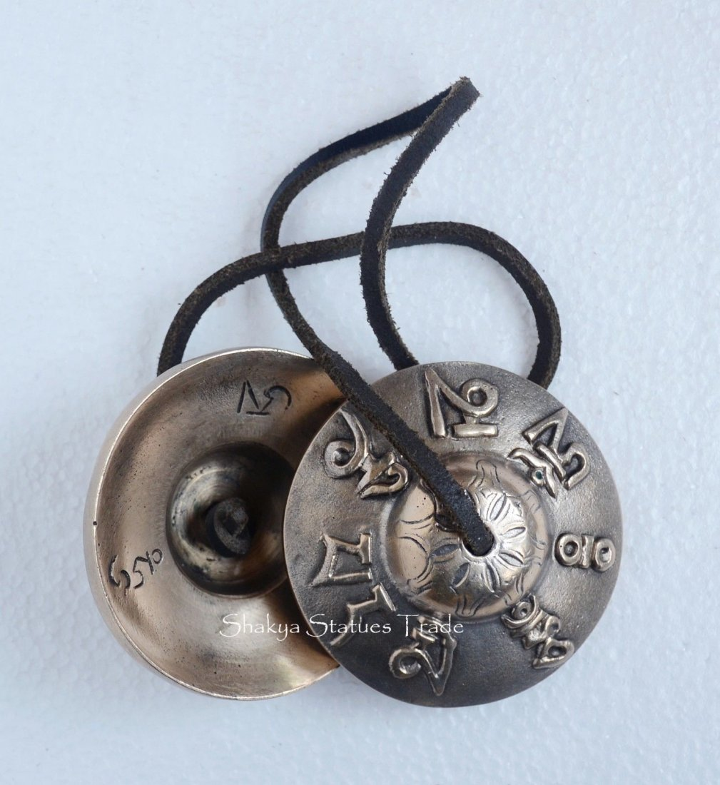"""Hand Carved 3\"""" Fine Quality Buddhist Tingsha Cymbals"""
