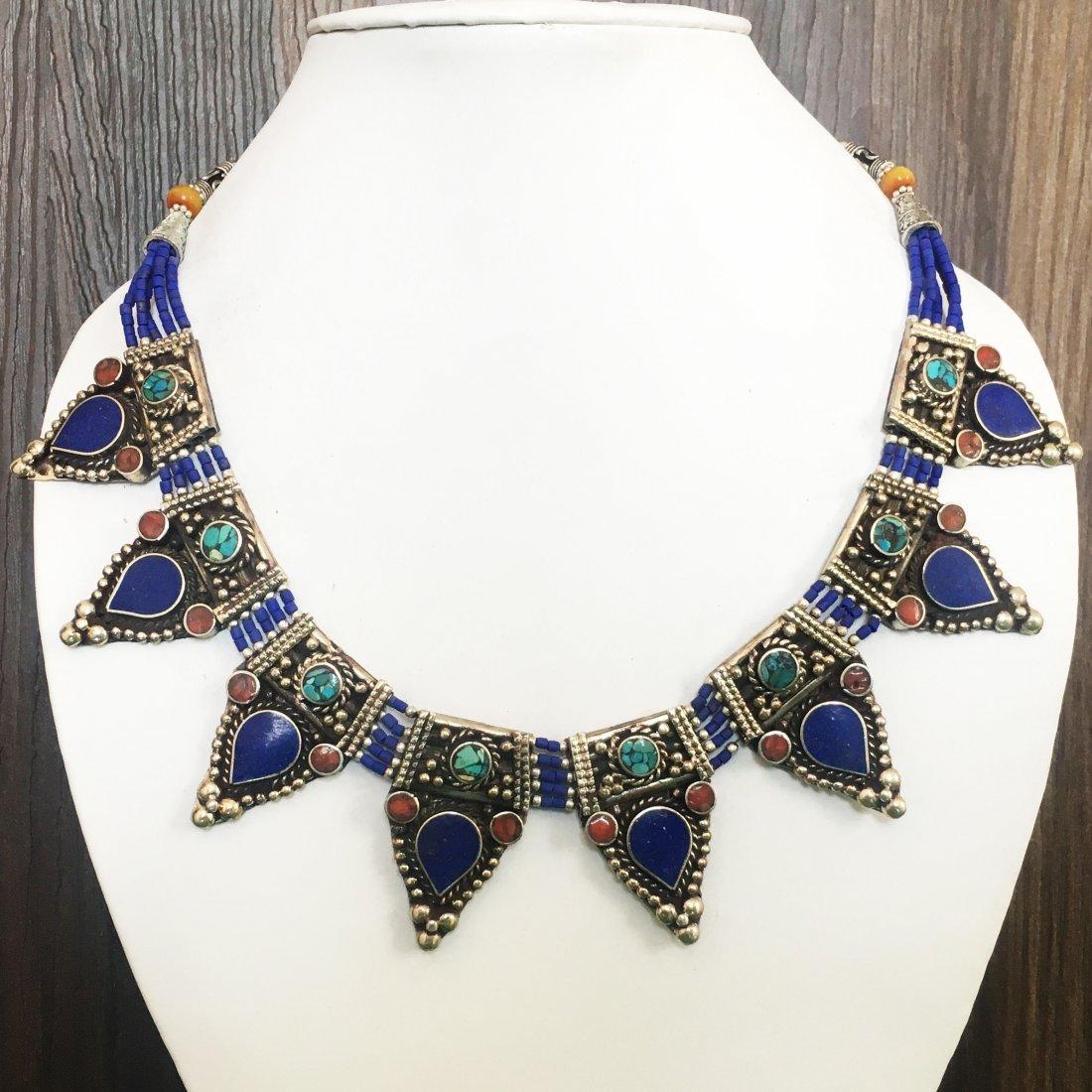 Tibetan Vintage Lapis & Coral Necklace