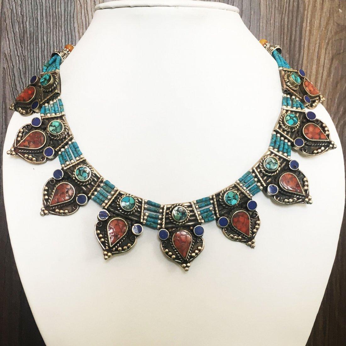Tibetan Vintage Turquoise & Coral Necklace