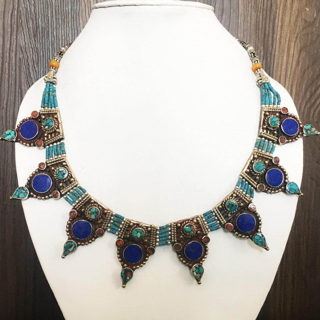 Turquoise & Coral Vintage Tibetan Necklace