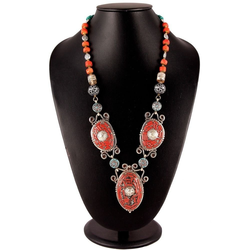 Natural Ethnic Tibetan Red Coral Beautiful Necklace