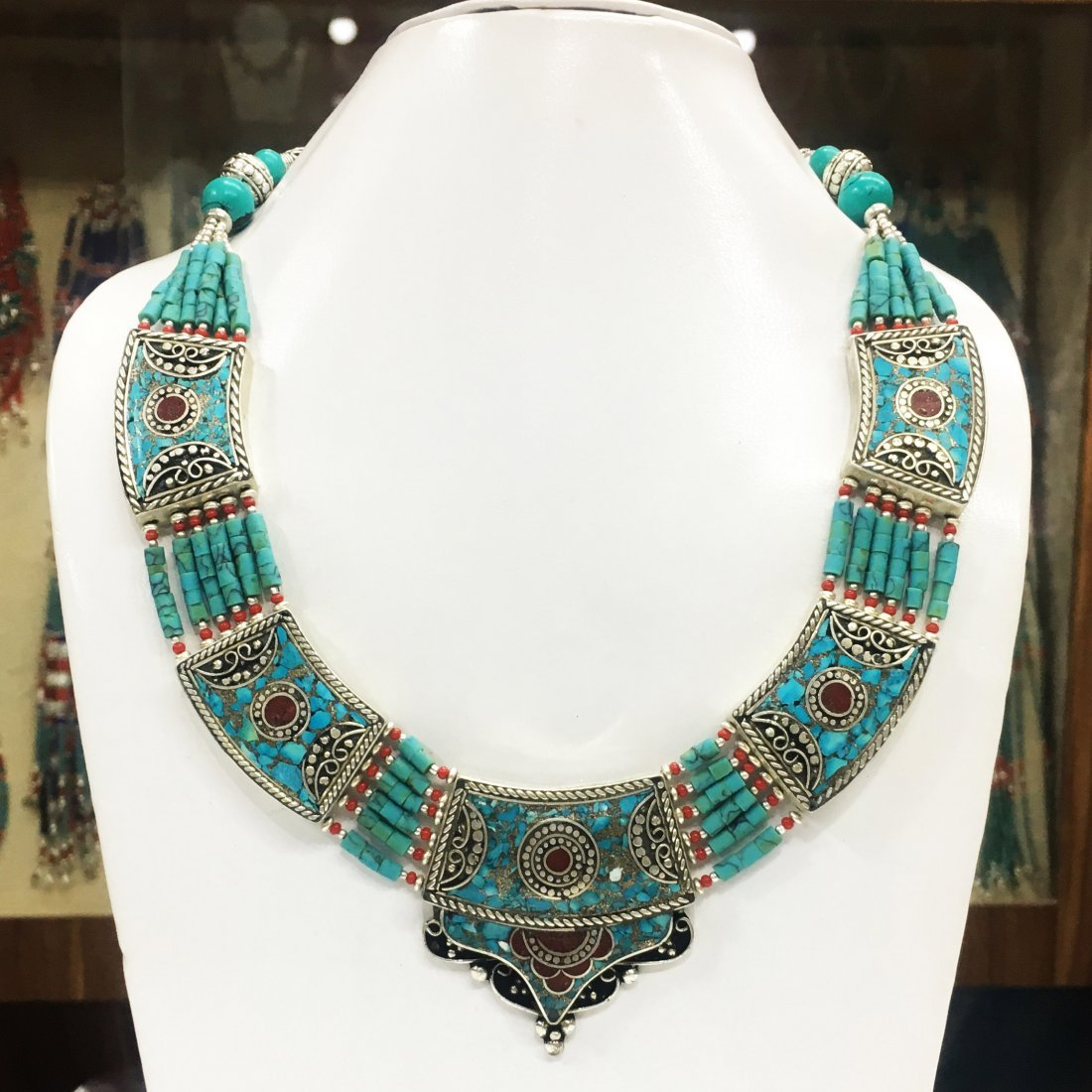 Bohemian Turquoise & Coral Necklace