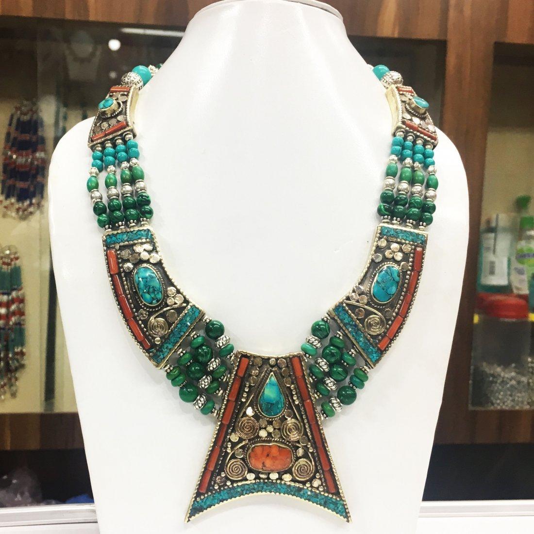 Tibetan Malachite Unique Handmade Necklace