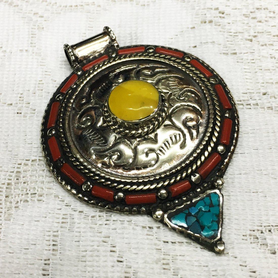 Tibetan Tribal Ethnic Tibetan Silver Amber Pendant