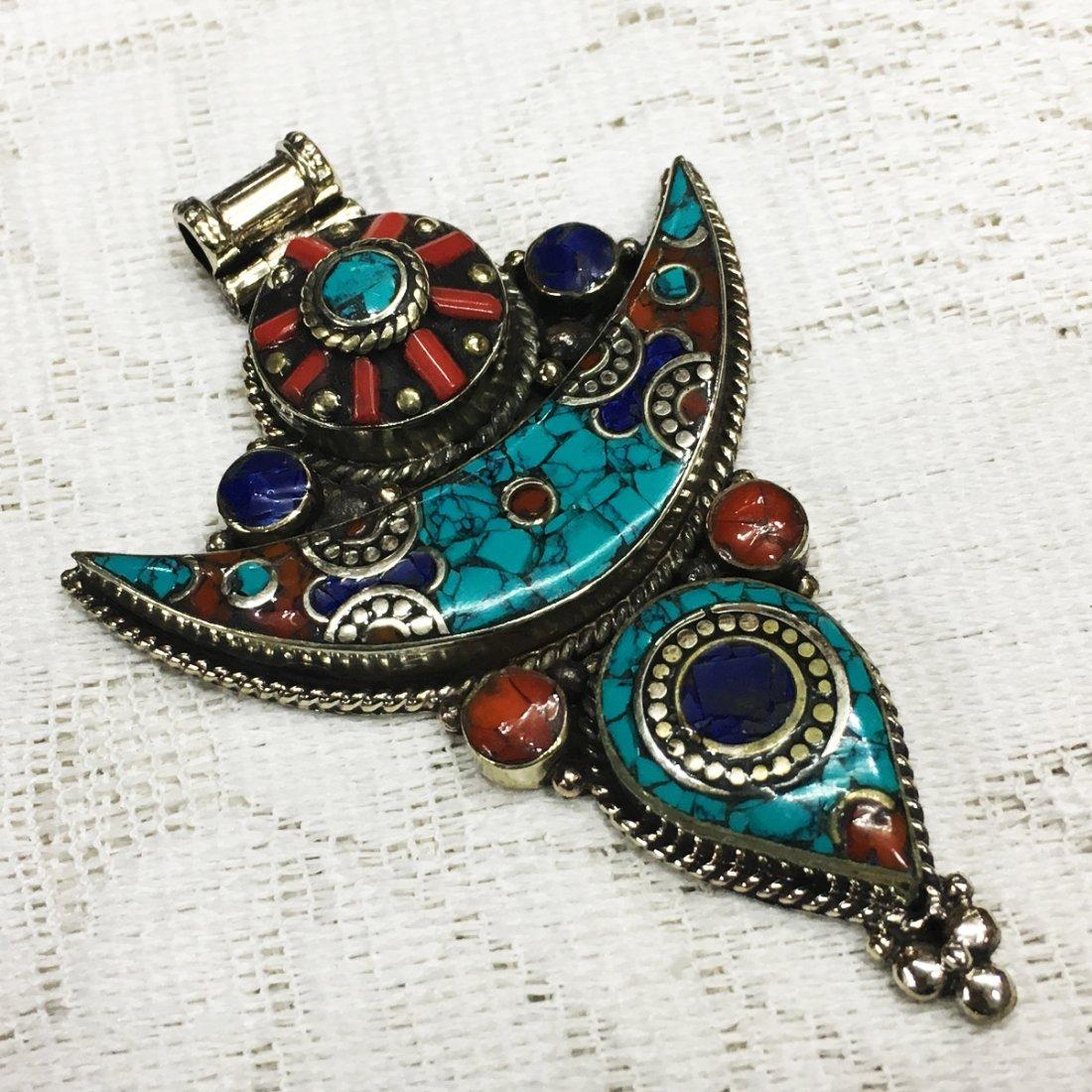Tibetan Turquoise & Coral Nepali Handmade Pendant