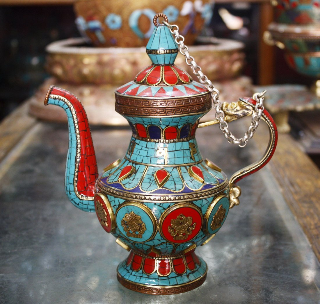 "Tibetan Jug With Turquoise And Coral Stone 8"" Handmade"