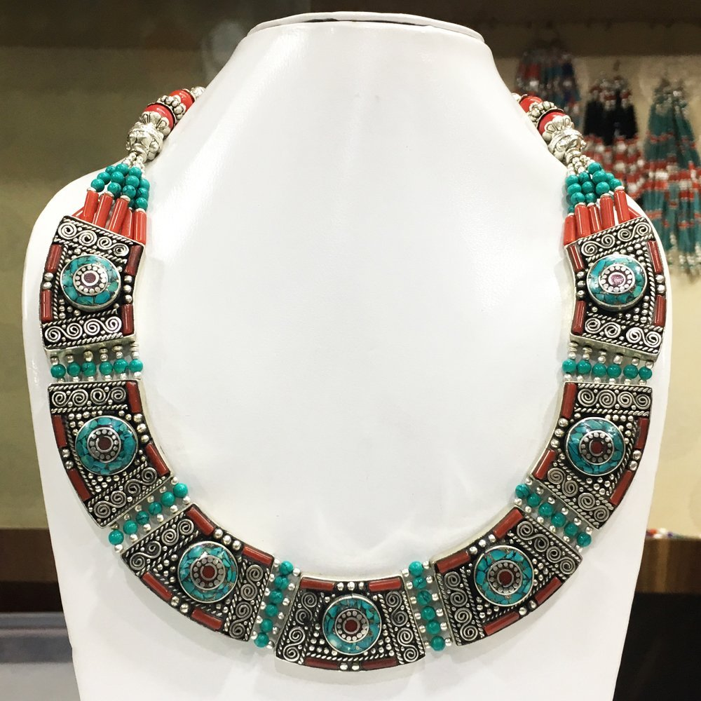 Mexican Bold Ethnic Turquoise Necklace