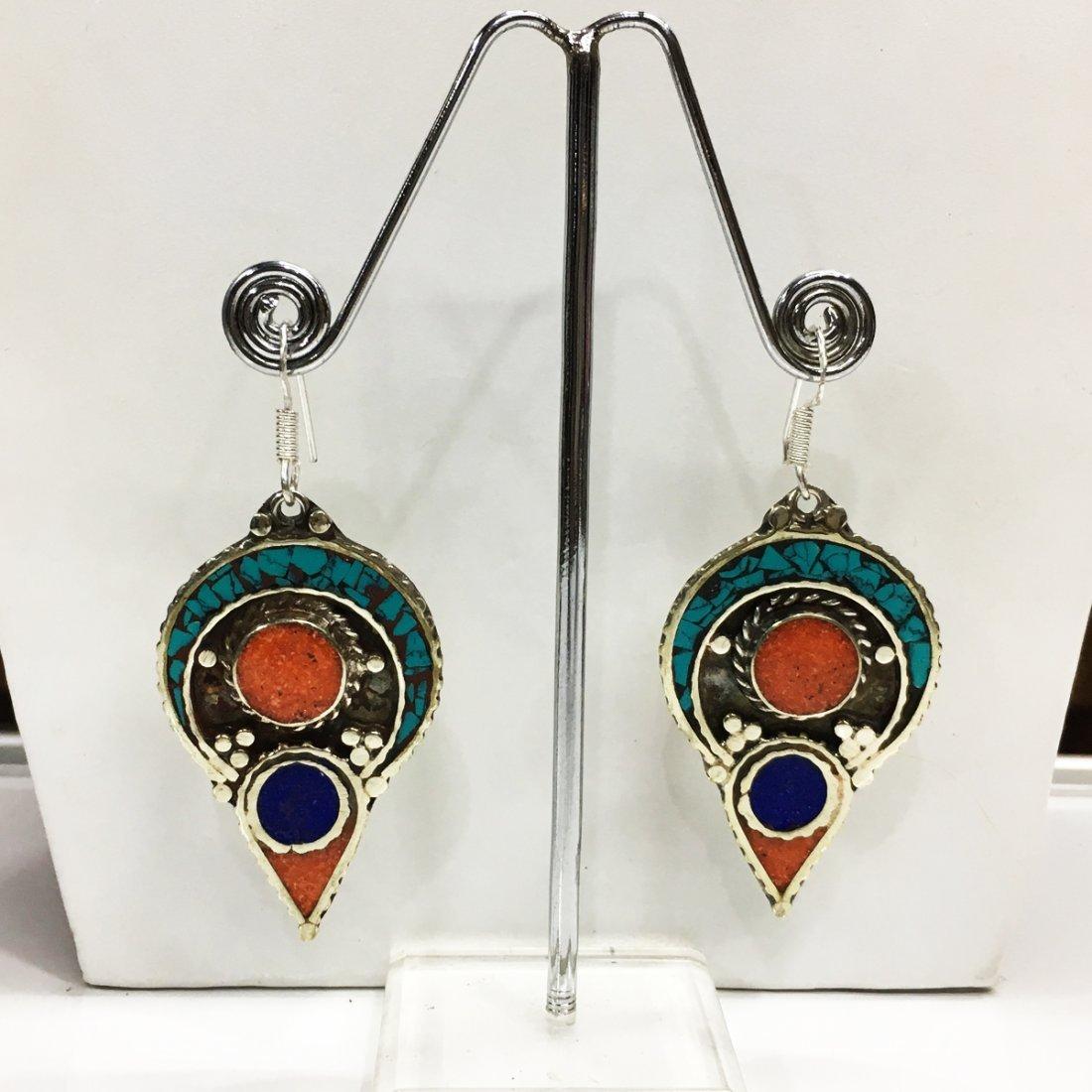 Tibetan Buddhist Lapis & Coral Vintage Earring