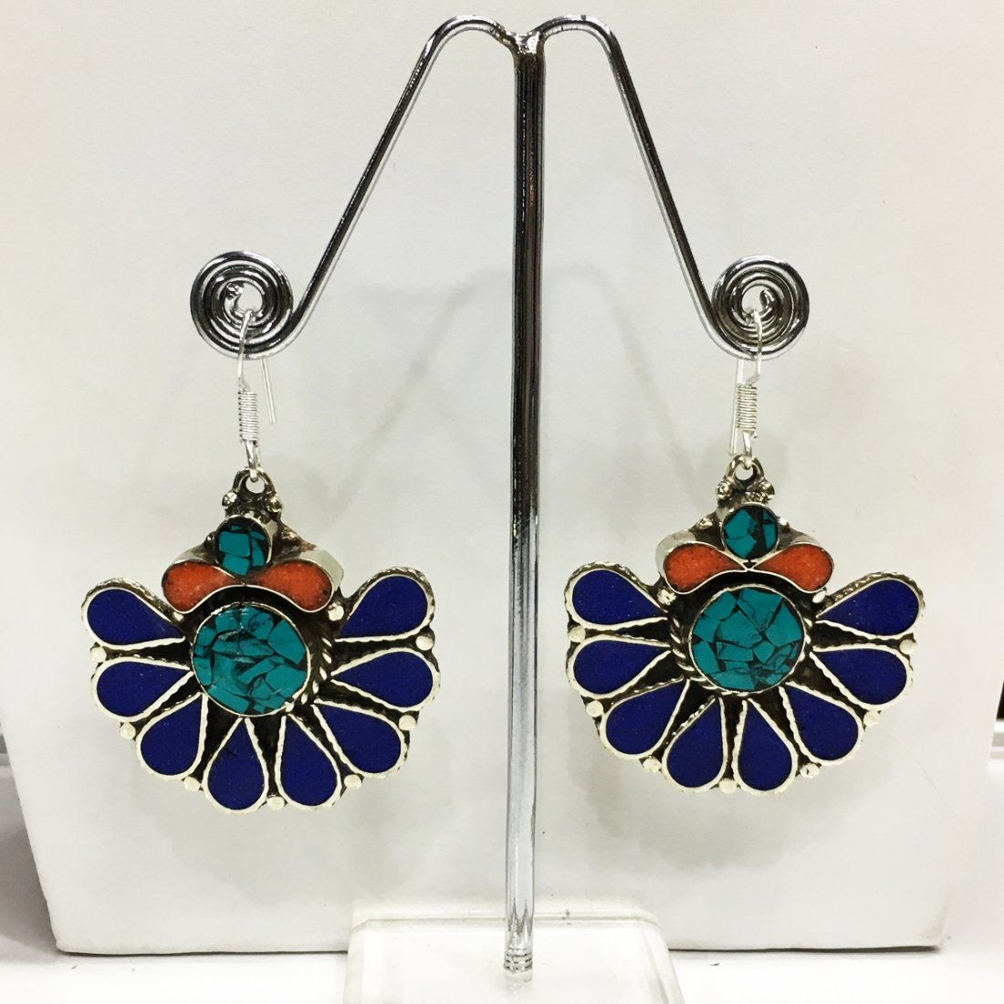 Turquoise & Lapis Gemstone Tibetan Silver Earrings