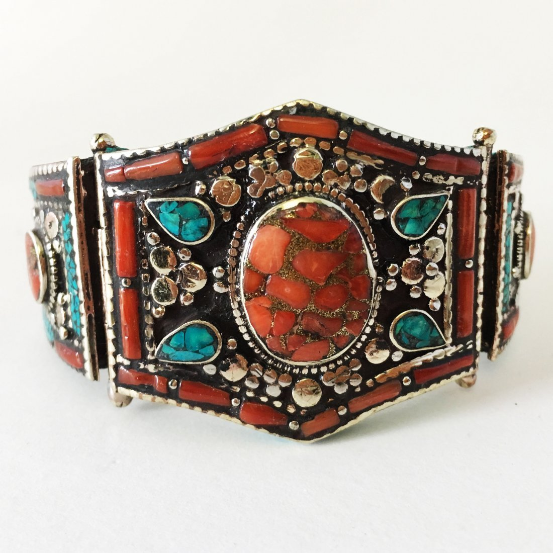 Antique Tibetan Silver Coral and Turquoise Bangle
