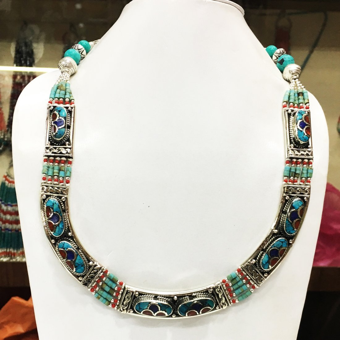New Arrival Nepali Turquoise & Coral Tibetan Necklace