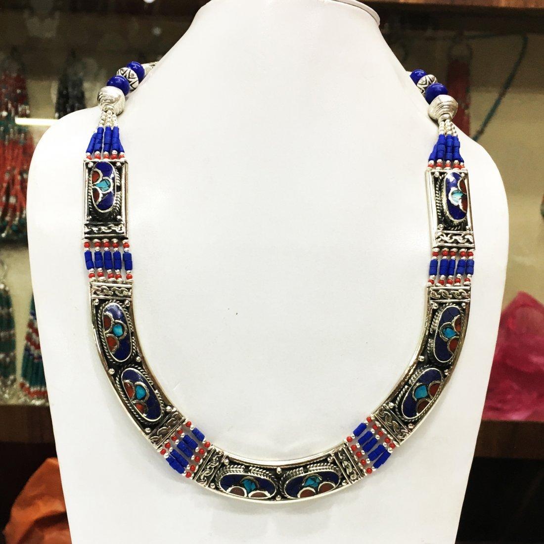 Designer Natural Lapis Tibetan Jewelry Tribal Necklace
