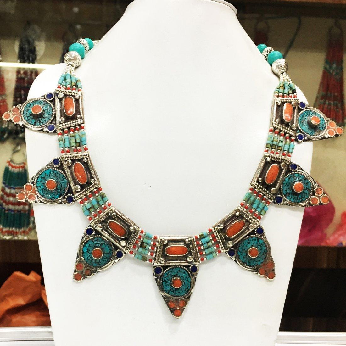 Vintage Turquoise Tibetan Asian Necklace