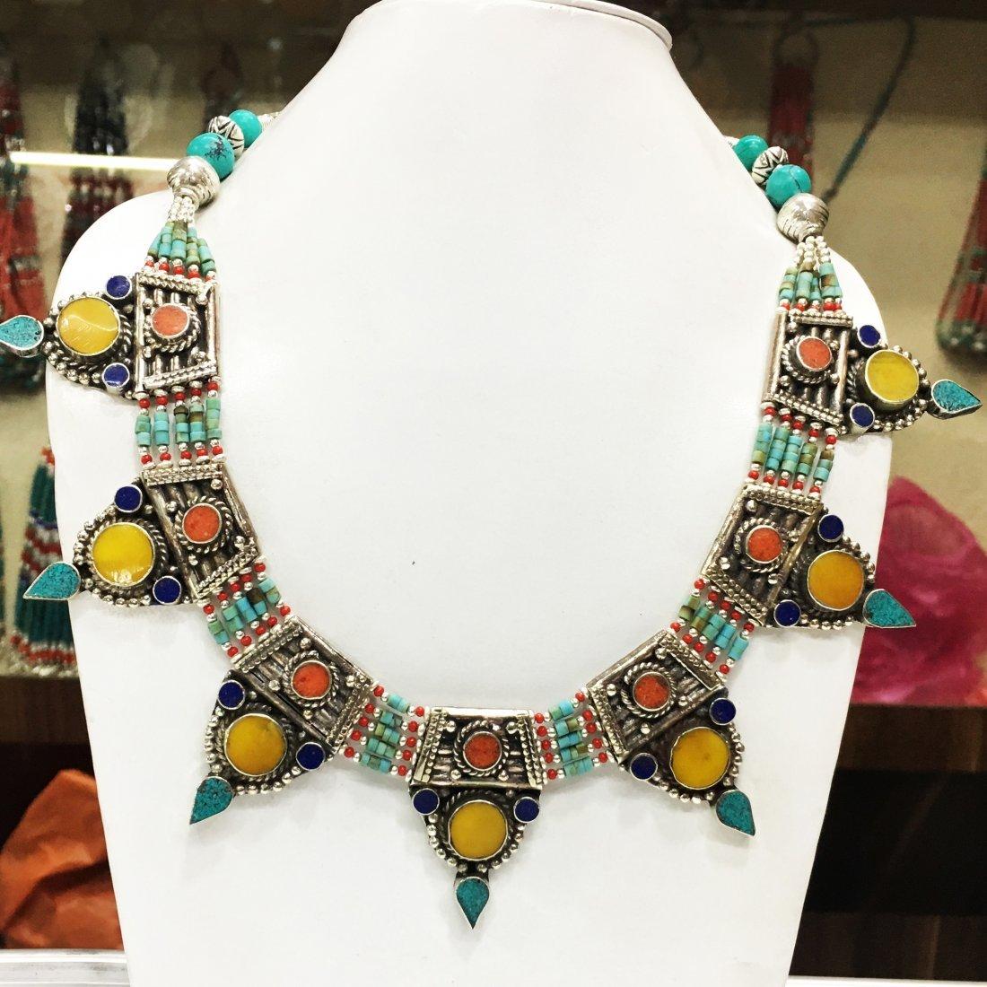 Tibetan Vintage Amber & Coral Tibetan Handmade Necklace