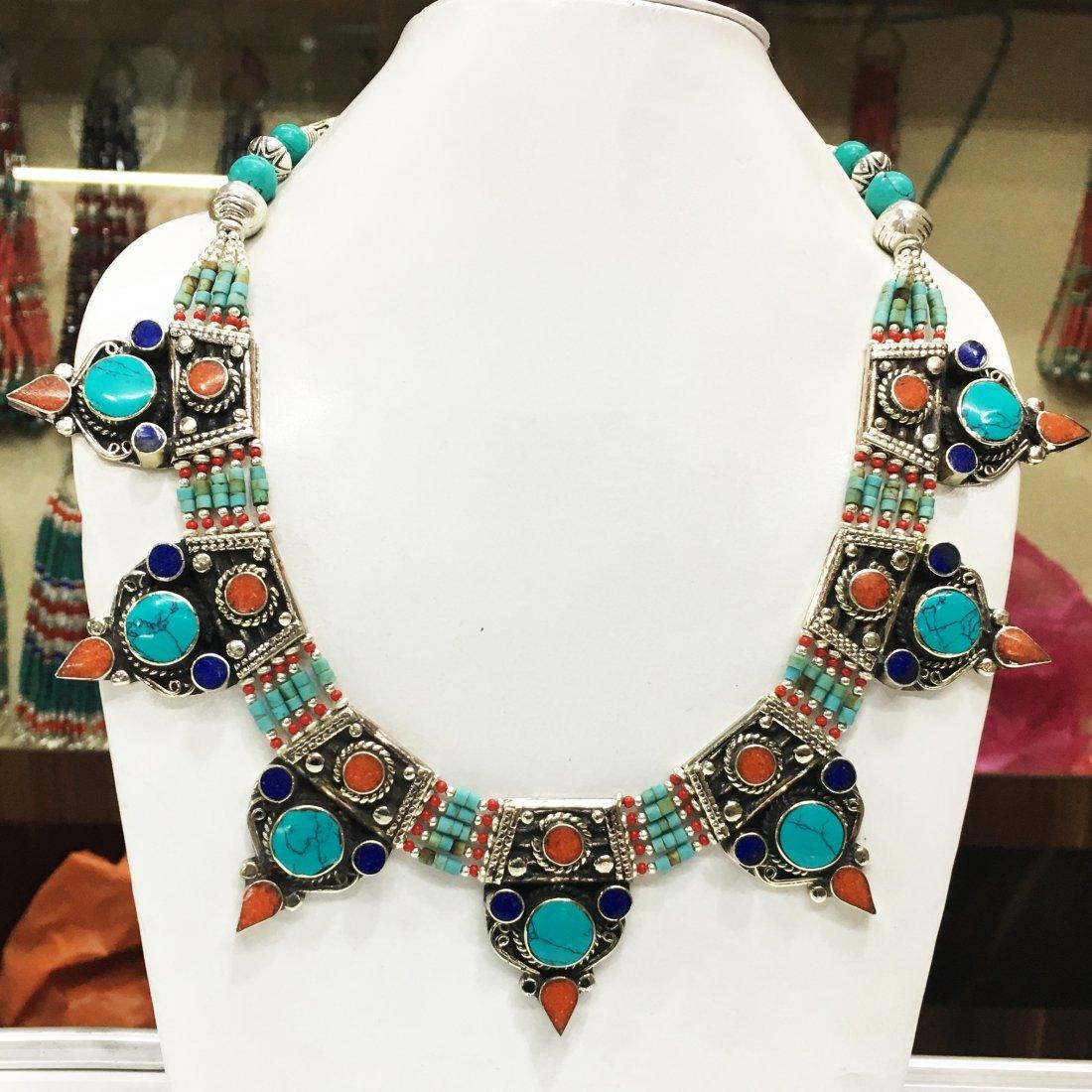 Tibetan Turquoise & Coral Gemstone Necklace