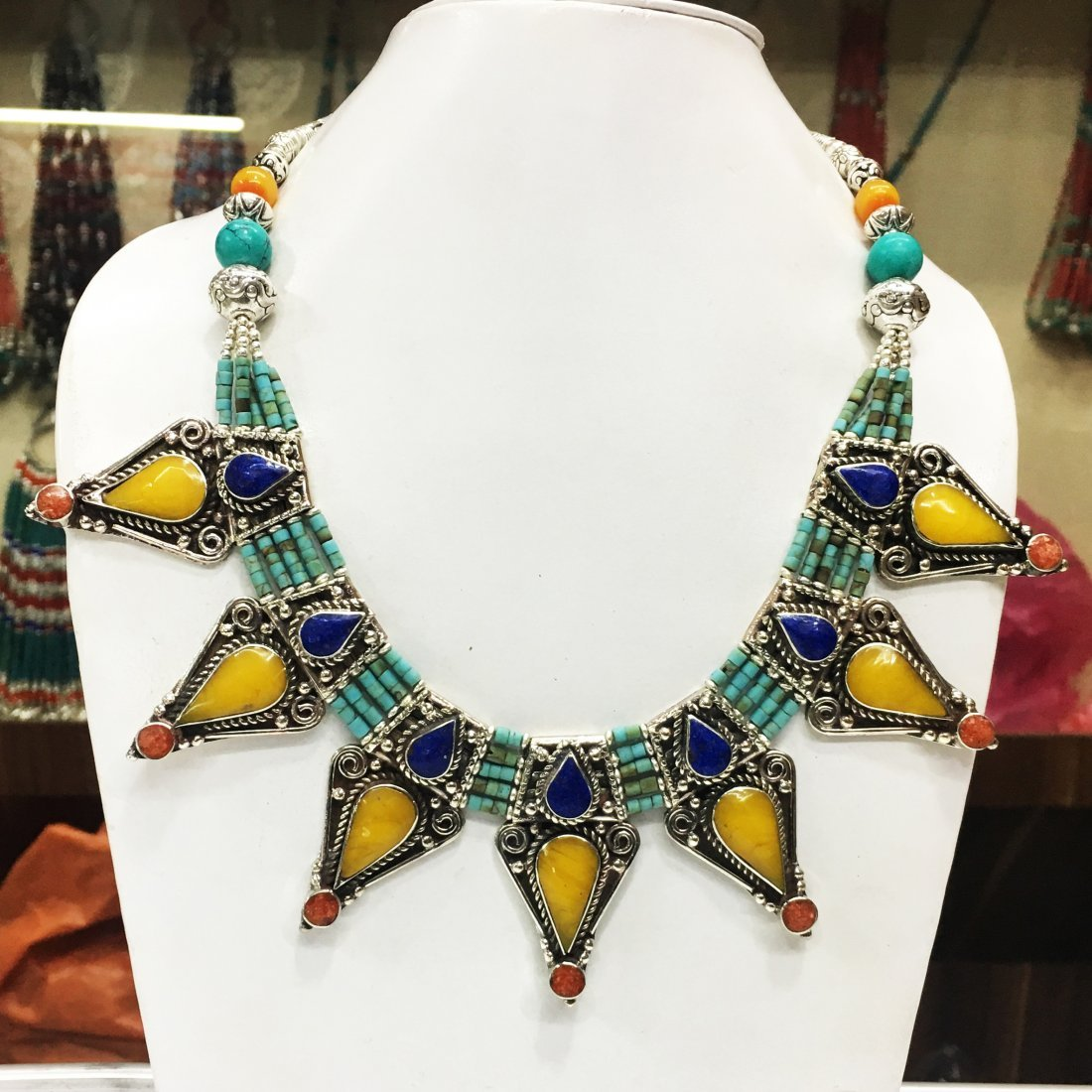Gypsy Tibetan Designer Lapis & Amber Necklace