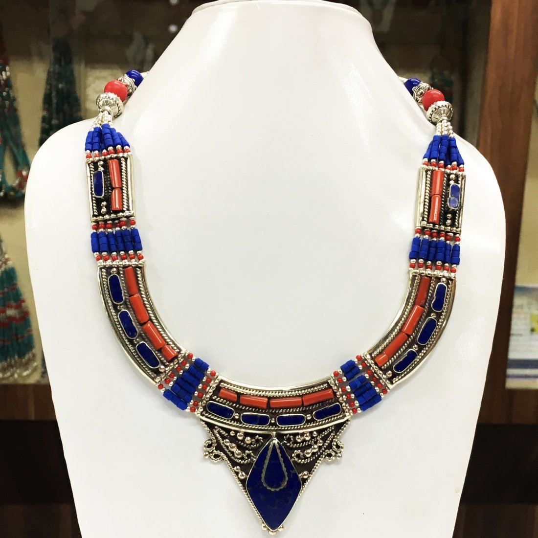 Gypsy Tibetan Designer Lapis & Coral Necklace