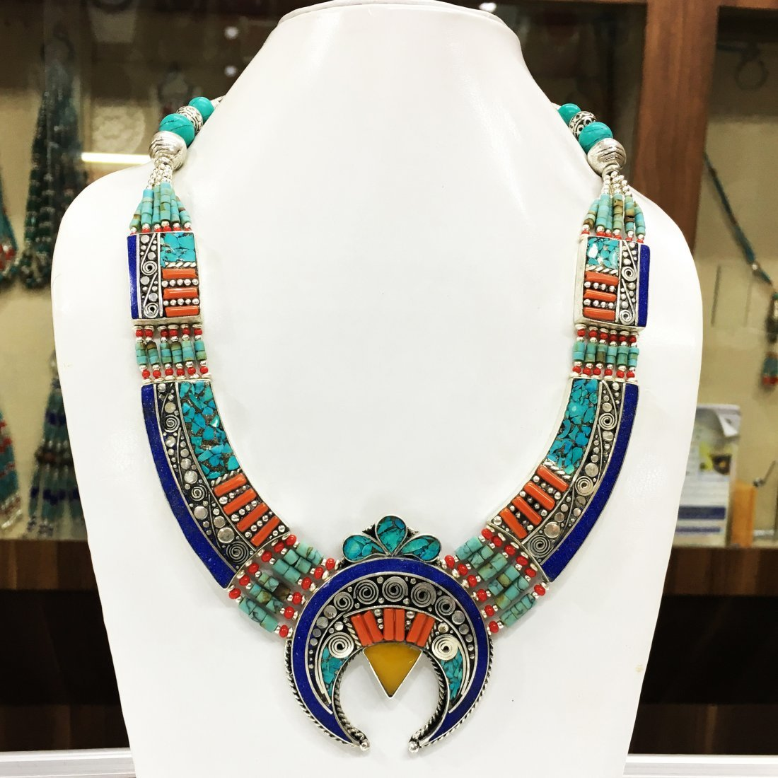 Tibetan Buddhist Turquoise, Amber & Coral Necklace