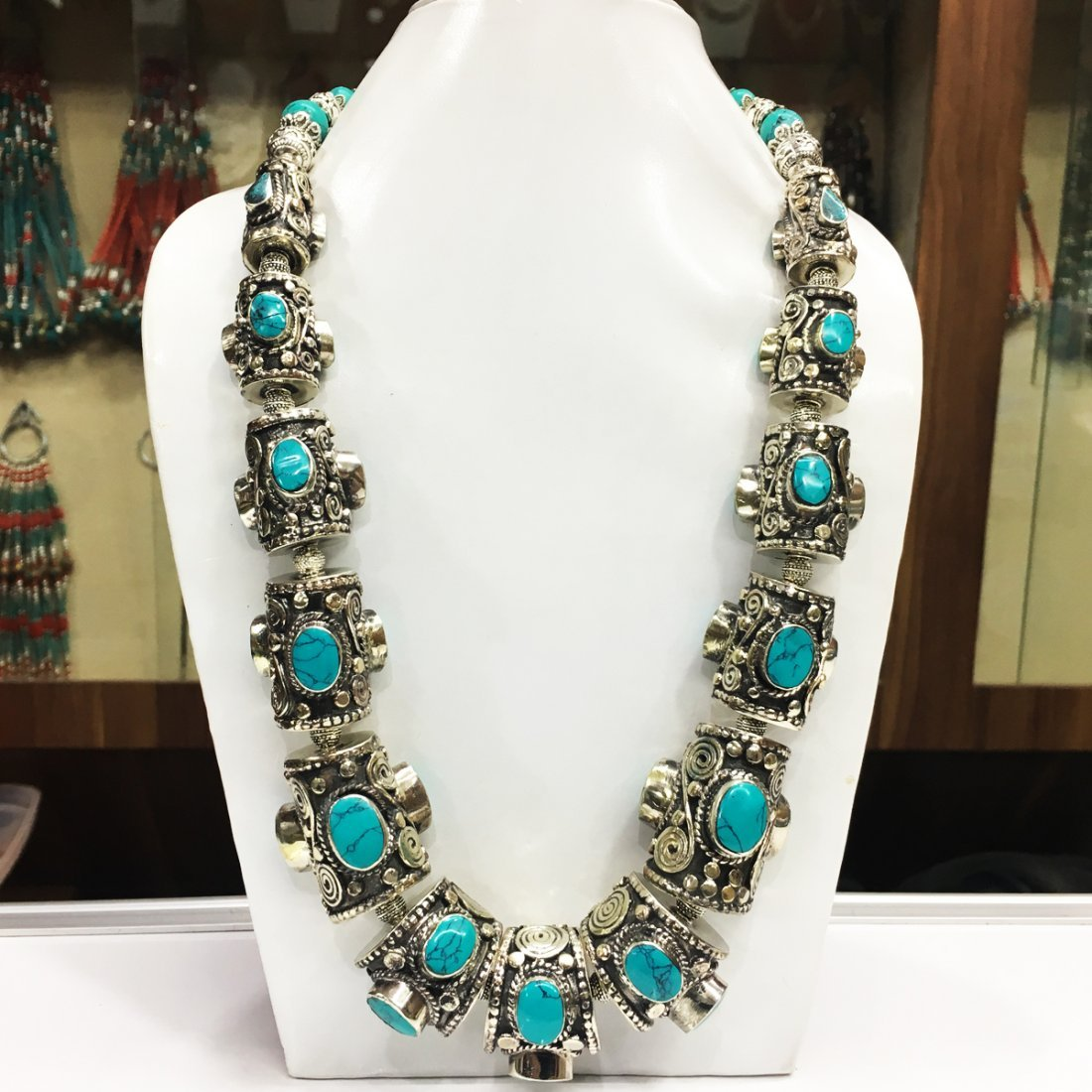 Tibetan Turquoise Bold Tribal Handmade Necklace