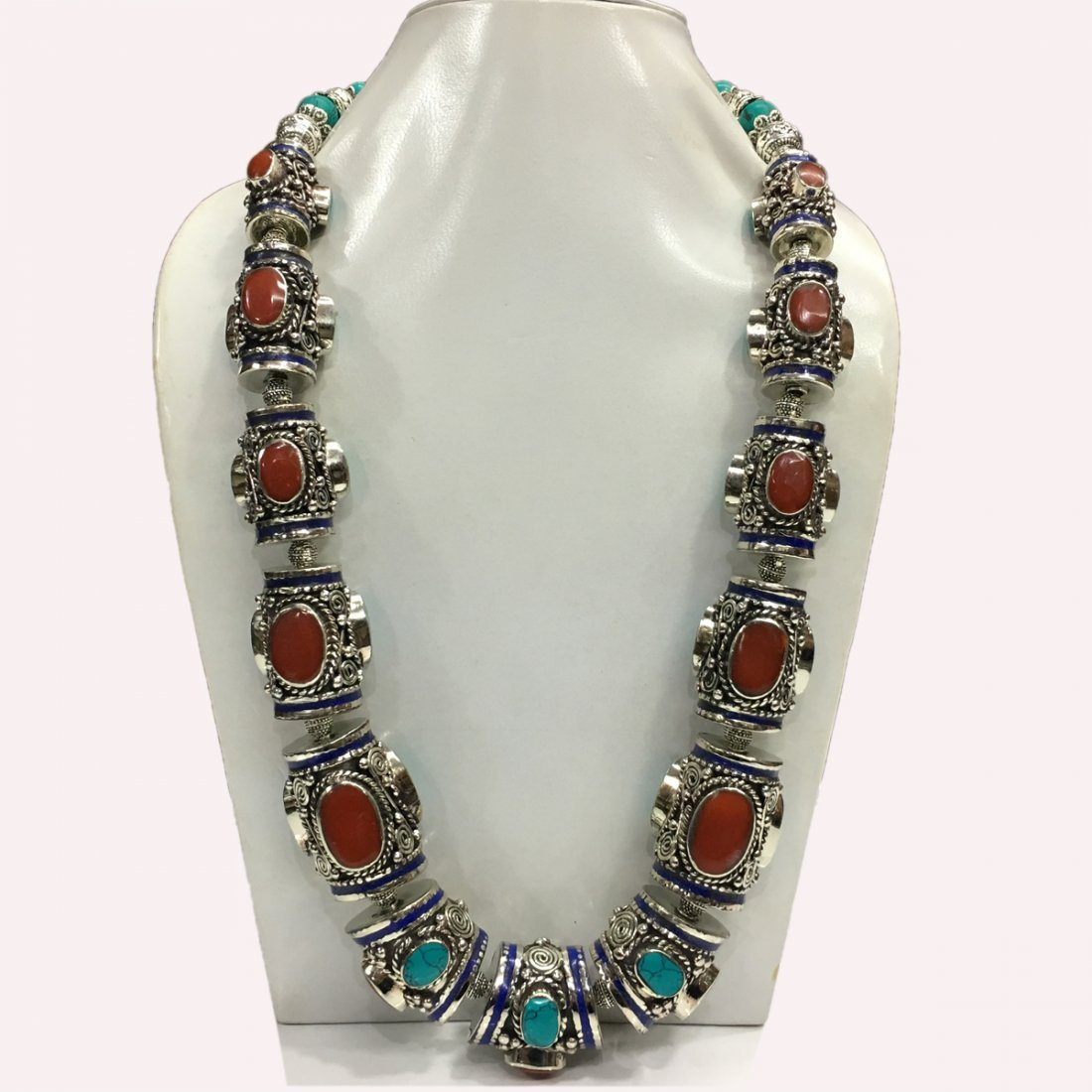 Women's Handmade Tribal Turquoise & Coral Necklace
