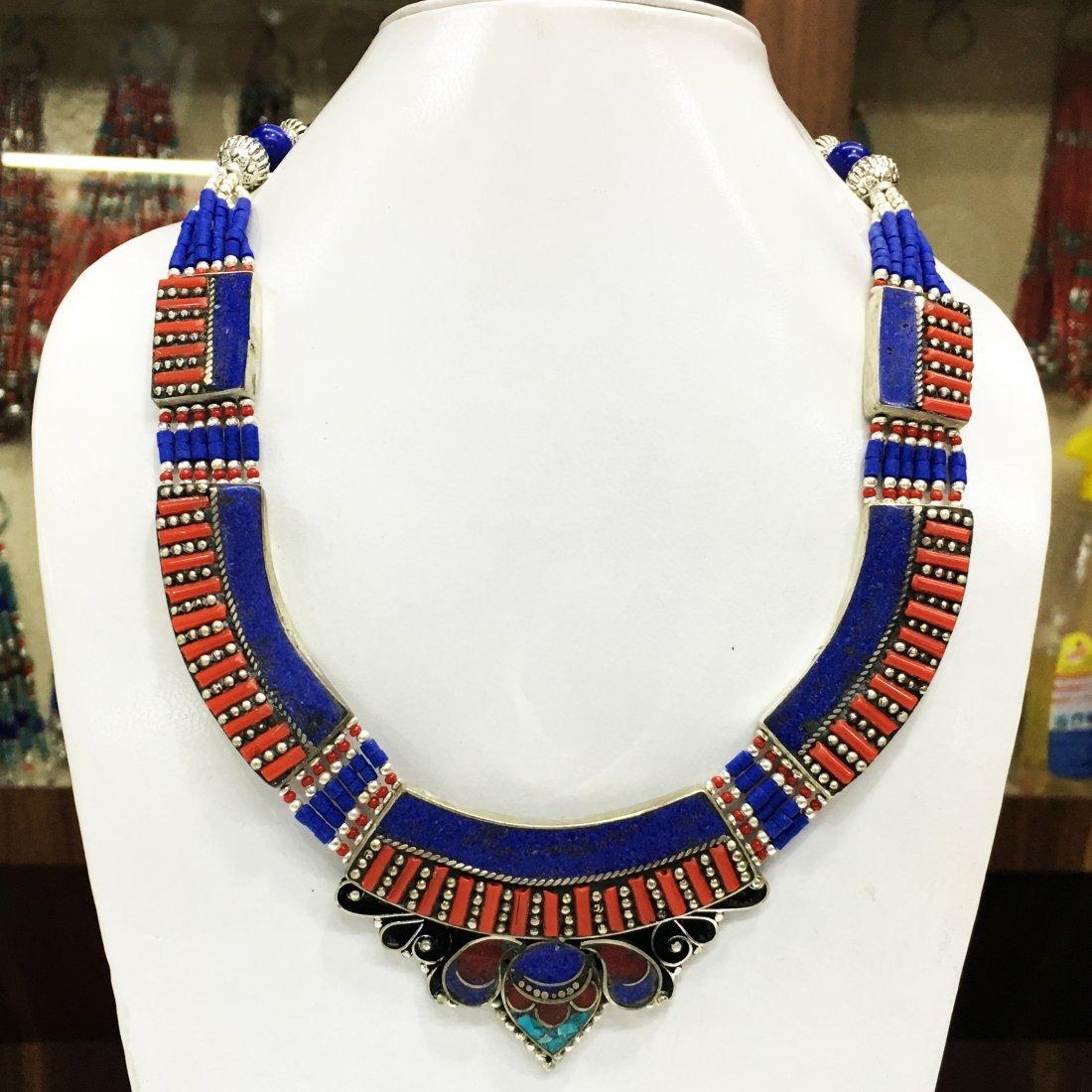 Nepali Tibetan Lapis & Coral Gemstone Necklace
